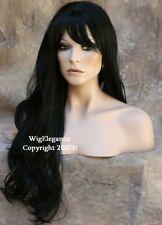 EXTRA LONG Flowing gentle wavy Jet Black w. Bangs Full WIG JSJO 1 Hair piece