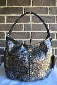 NWT $299 Patricia Nash Bello Hobo Bag Tri-Metallic silver gold black Leather