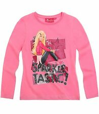 Neu Pulli Pullover Langarmshirt Barbie pink schwarz weiß 92 104 110 116 128 #167