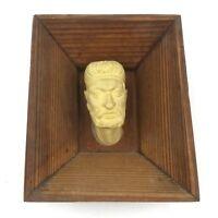 Vintage Plaster Cast Framed Head Figurine Maybe Greek Origin 1950's Decorative