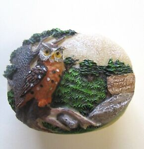 Owl Stone Jewelry Box-Trinket Box-OWL-trees grass brown green orange oval