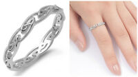 Sterling Silver 925 PRETTY CELTIC DESIGN SILVER BAND RING 4MM SIZES 4-11