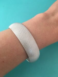 Tiffany & Co Sterling Silver Mesh Somerset Weave FIRM Bangle Bracelet. Small.