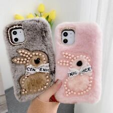 2020 Autumn Warm Winter Rabbit Pearl Bow Fur Fluffy Plush Soft Shell Case Cover