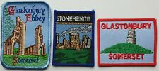 GLASTONBURY STONEHENGE VINTAGE SOUVENIR PATCHES SOMERSET PEACE RETRO TOURIST