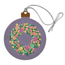 Spring Wreath Flowers Wood Christmas Tree Holiday Ornament