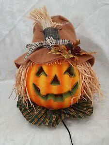 "Halloween Light up Fiber Optic Pumpkin Head Jack-O-Lantern Scarecrow 12"""