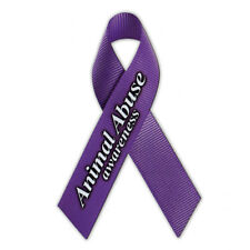 Magnetic Bumper Sticker - Animal Abuse Awarness Ribbon (Dogs, Cats, Horses)
