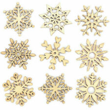 10PCS Assorted Wooden Snowflake Laser Cut Christmas Tree Hanging Decor Ornament