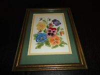 Original Art Oil Painting 1993 Pansies Flower Bouquet Signed EK Framed