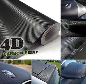 150x152cm Black Gloss 4D Carbon Fibre Vinyl Wrap High Quality Bubble Free Film