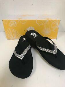 Yellow Box Zemily Black Leather Upper W/ Clear Stones Flip Flops
