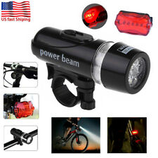 5LED Lamp Bike Bicycle Front Head Light+Rear Safety Flashlight +2 Accessories US