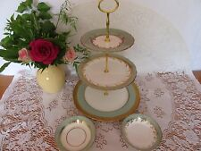 Stunning Vintage Aynsley green & gold bone china 3 tier cake   stand,2 bowls