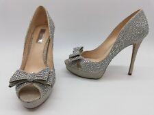 INC International Concepts Vernaa2 Women Shoes Bow Detail Silver Pumps Sz 7 M