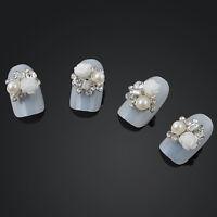 Latest 10pcs DIY White Rose  3D Alloy Jewelry Nail Art Decor Glitter Rhinestone