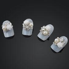 10pcs DIY Glitter Rhinestone White Rose 3d Alloy Jewelry Nail Art Decor