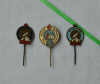 USSR tourist pins Lot 3x Soviet heavy badge compass tent Russian camper traveler