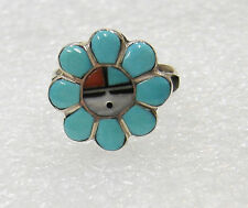 STERLING SILVER SUN FACE TURQUOISE CORAL ONYX RING SIZE 6 521-A