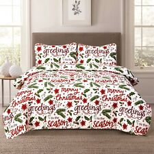 Holiday Quilt Bedding Bed Set Christmas Winter Script, Red and Green