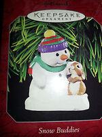 HALLMARK Keepsake 1998 SNOW BUDDIES Christmas Ornament SNOWMAN & BUNNY #1 Series