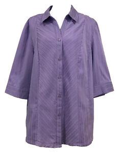 NOW+Plus Size 20 Ladies Lavender Purple, 3/4 Sleeve, Stretch Cotton Shirt Blouse