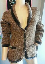 HWR Anthropologie Brown Marled Velvet Trim Cardigan Sweater Jacket S