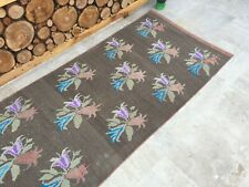 3'6''x7'4'' Antique Rug Carpet,Vintage Turkish Rug,Large Oushak Runner,Ushak Rug