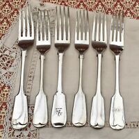 JOB LOT FIDDLE FORKS MONOGRAMS CREST EPNS SILVER PLATE ANTIQUE VICTORIAN CUTLERY