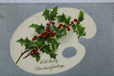 With Hearty Christmas Greetings Holiday Holly Undivided 1905 Antique Postcard