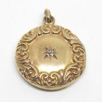 Antique Victorian Round Diamond Locket Pendant 10k Gold Art Nouveau Mothers Day