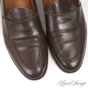#1 MENSWEAR Founders Made in Italy LNWOB Chocolate Leather Penny Loafers 13 NR