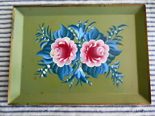 Vintage Tole Tray HP Floral Cottage Green