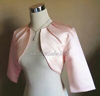 Light Pink Satin Bolero/Shrug/Cropped Jacket/Stole/Shawl/Wrap Pleat Neck UK 4-26