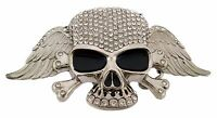 Skull Belt Buckle Skeleton Crossbones Silver Metal Rhinestone Hip Gothic Tattoo