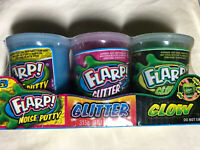 FLARP 3 Pack Tray Glitter Glow Original Noise Putty Set Colors May Vary NEW