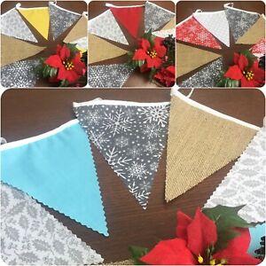 "Christmas Fabric Hessian Bunting Handmade 3m (12 flags) + Free ""NOEL"" Mini Offer"