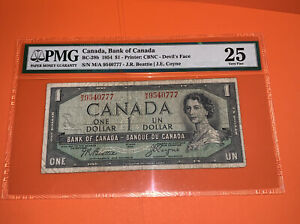 PMG Canada, Bank of Canada $1 Devil's Face Banknote 1954 25 VF