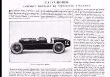 ARTICOLO 1925 ALFA ROMEO GRAN PREMIO RL CABRIOLET LIMOUSINE OFFICINE PORTELLO