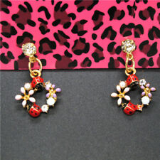 Color Enamel Cute Beetle Flower Crystal Betsey Johnson Women Stand Earrings