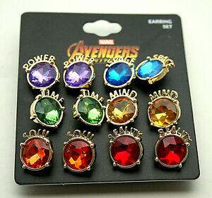 6 Pair Marvel Comics Avengers Infinity War Gauntlet Stones Earring Set New MOC