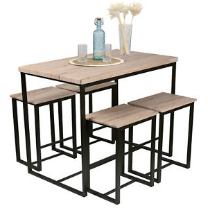 Wooden Top Bar Table With 4 High Stools Set Kitchen Breakfast Chairs Metal Frame