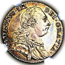 1787 King George III Great Britain Silver Shilling Coin NGC MS62