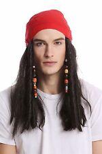 Wig & Bandana Headscarf Carnival long black Beads Pirate Pirate Corsair