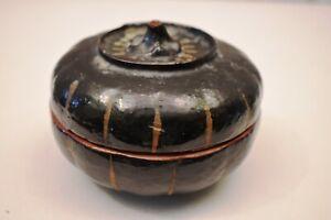"Vintage Burmese Lacquerware Pumpkin Box Black Hand Painted Myanmar Storage Rar""2"