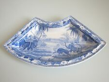 Antique SPODE Hunting a Buffalo Supper segment Dish Blue White Transfer 19thC