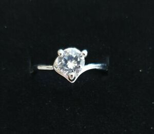 Size N White Gold Finish 0.7ct Diamond ❤️ Solitaire Silver Engagement Ring BNWT