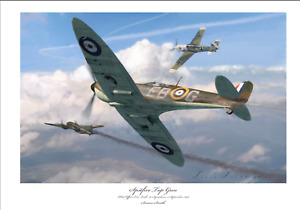 BATTLE OF BRITAIN ACE ERIC LOCK SPITFIRE MK1 LIMITED EDITION SIGNED PRINT