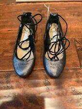 Diane Von Furstenberg Silver Lace-Up Ballet Flats, Size 5 (US) 35 (EUR)