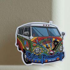 Vintage VW Bus Hippie Retro Peace Summer of Love 7x8cm DECAL STICKER #2369